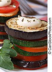 sliced baked eggplant, zucchini and tomatoes vertical