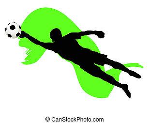 soccer goalkeeper saved a ball