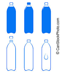 set of water bottle silhouette on white background