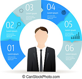 Step circle infographic business diagram
