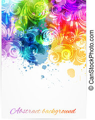 Swirly floral background - Background with abstract color...