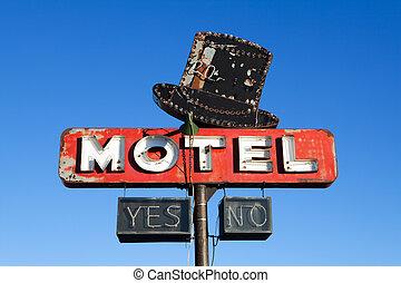 motel, sinal, estilo,  retro