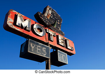 azul,  motel, céu,  retro, sinal