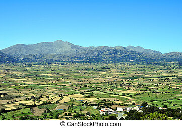 View of the Lassithi Plateau in Crete, Greece
