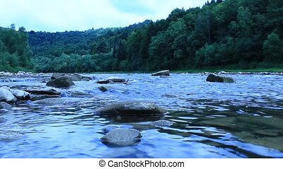 beautiful speed mountainous river - beautiful landscape with...