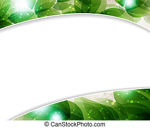 lush foliage - Green leaves on a beige background with place...
