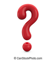 red 3d question mark isolated on white background