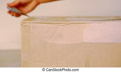 Close up female hands open cardboard box. Macro video shift...