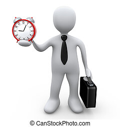 Businessman Holding A Clock - Computer Generated Image -...