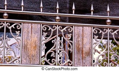Ornamental metal fence. Video shift motion 1920*1080