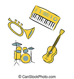 Musical instruments set - Trumpet, electric piano, acoustic...