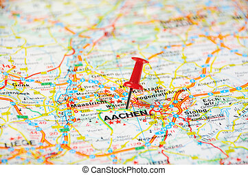 Aachen , Belgium pin map - Red push pin pointing at Aachen ,...