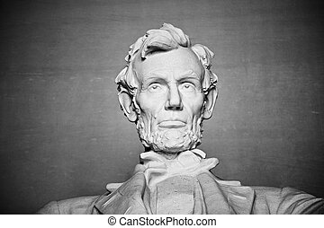 Abraham Lincoln - portrait from statue at Lincoln Memorial,...