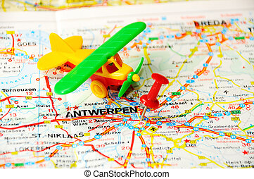 Antverpen , Belgium map - Red push pin pointing at Antverpen...
