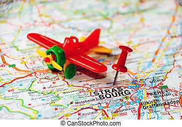 Strasbourg , Belgium map airport - Red push pin pointing at...