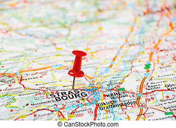 Strasbourg , Belgium map - Red push pin pointing at...