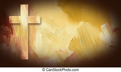 Calvary Cross graphic on painted texture background -...