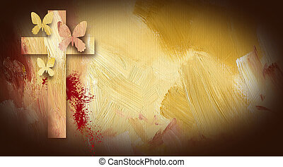 Calvary Cross with forgiven butterflies graphic - Photo...