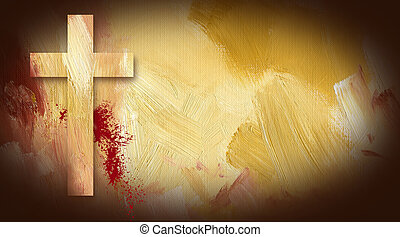 Calvary Cross Sacrificial Blood graphic on painted texture...