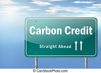 Highway Signpost Carbon Neutrality - Highway Signpost with...