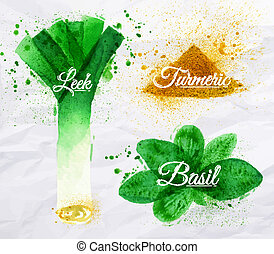 Spices herbs watercolor leeks, basil, turmeric - Spices...