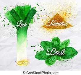 épices, Herbes, aquarelle, poireaux, basilic, curcuma