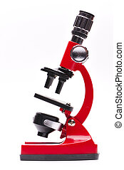Red microscope on a white background
