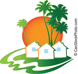 Houses Real Estate business logo - Houses sun and palms Real...