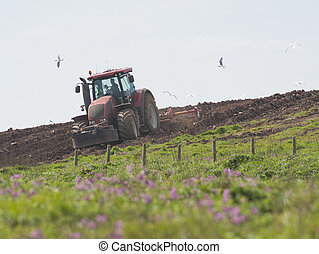 Tractor ploughing agricultural land