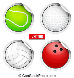 Sports Round Stickers balls with shadows. Equipment for...