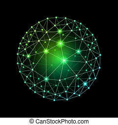 Sphere connected - Green internet web envelopes sphere on a...