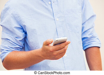 Professional texting on cell phone