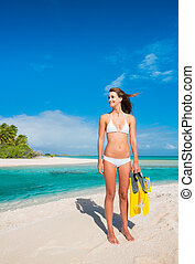 Woman on Tropical Island with Snorkel Gear - Beautiful Young...