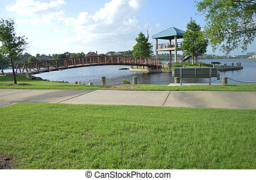 Bridge Park - Bridge leading to a gazebo