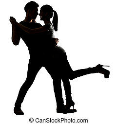 Silhouette of Asian couple dancing, full length portrait on...