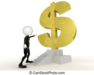 3d businessman close to get the dollar sign in the stairs