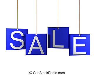 blu, ETICHETTE, etichetta, vendita, appendere