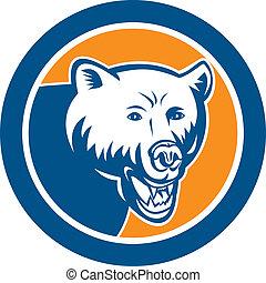 Angry Bear Head Circle Retro