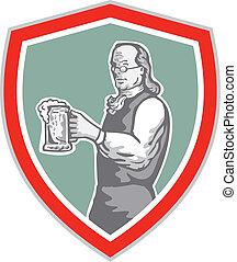 Benjamin Franklin Holding Beer Shield Retro - Illustration...
