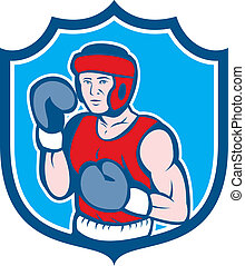 Amateur Boxer Stance Shield Cartoon - Illustration of an...