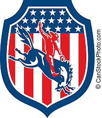American Rodeo Cowboy Bull Riding Shield Retro -...