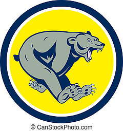 Grizzly Bear Running Circle Cartoon