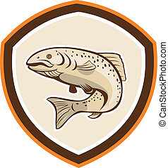 Rainbow Trout Jumping Cartoon Shield - Illustration of a...