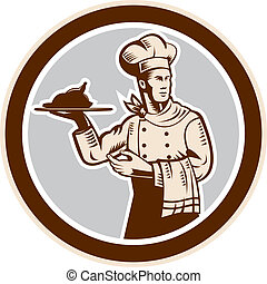 Chef Cook Serving Food Platter Circle Retro