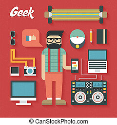 Flat Icons Set of Trendy Geek Items