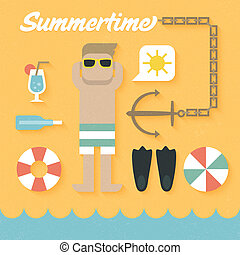 Flat Icons Set of Summer Holiday