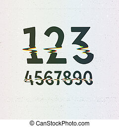 Vector CMYK Print Distortion Digits