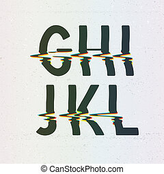 Vector CMYK Print Distortion Font from G to L
