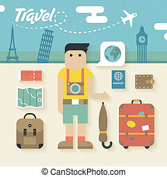 Flat Icons Set of Travel Holiday