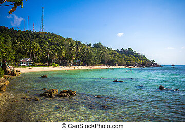 Tropical beach at Koh Phangan - nature background. Thailand...
